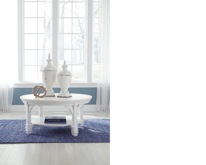 T371-8  ROUND COFFEE TABLE MINTVILLE WHITE OCCASIONAL