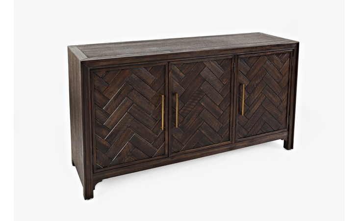 1756-60 ARTISAN'S CRAFT COLLECTION 3 DOOR ACCENT CABINET W/CHEVRON PATTERN DOOR