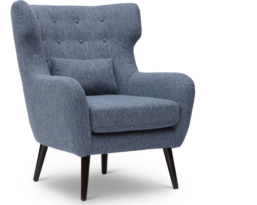 AVA-CH-BLUE AVA CHAIR MID CENTURY MODERN ACCENT CHAIR W/KIDNEY PILLOW