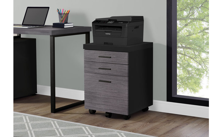 I 7403  FILING CABINET - 3 DRAWER - BLACK - GREY ON CASTORS