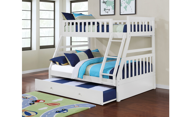 CB803W-JXA  BUNK BED HEADBOARD & FOOTBOARD, WHITE - (NOT INCLUDED TRUNDLE 12 WEEKS