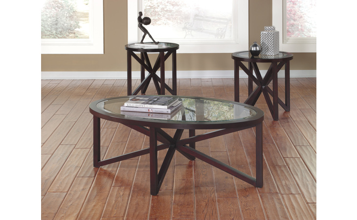 T291-13 SLEFFINE OCCASIONAL TABLE SET (3/CN) SLEFFINE DARK BROWN OCCASIONAL