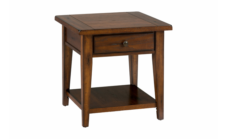 443-3 CLAY COUNTY OAK FINISH SQUARE END TABLE W/DRAWER, SHELF