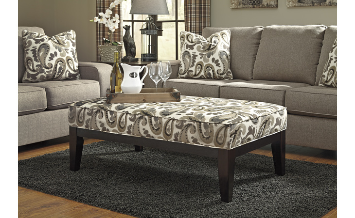8730208  OVERSIZED ACCENT OTTOMAN ARIETTA STONE STATIONARY UPHOLSTERY