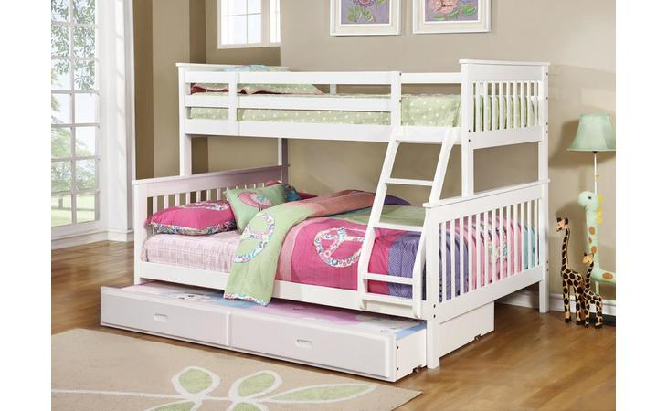 460260  TWIN/FULL BUNK BED (WHITE)