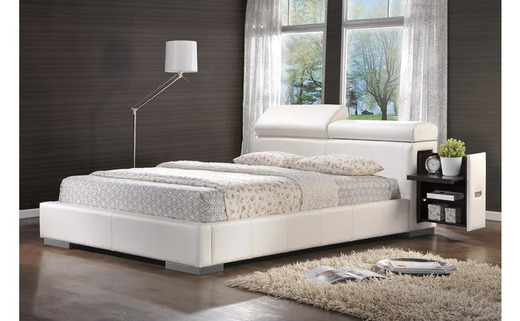 300379Q  MAXINE UPHOLSTERED QUEEN BED WHITE